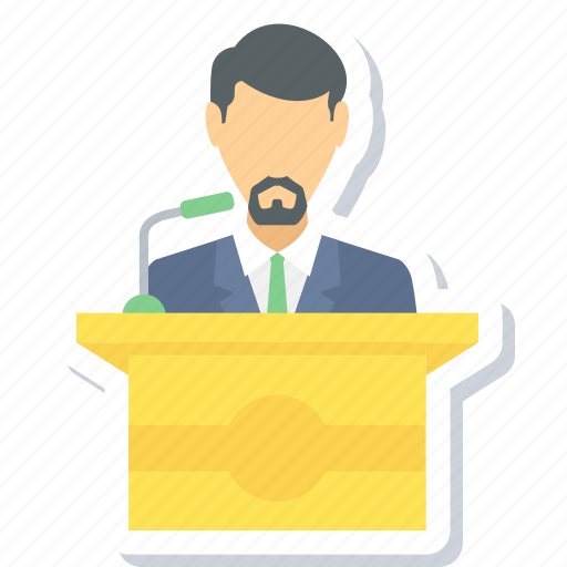 boy, male, message, podium, speech, student icon
