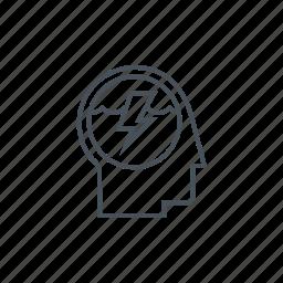 creativity, electricity, lightning, thinking, thunderbolt, user icon