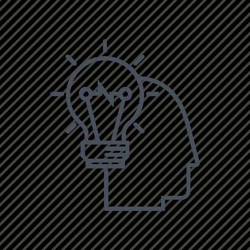 creative, head, idea, lamp, man, person, smart icon