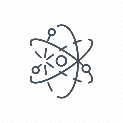atoms, discovery, nuclear, physics, science icon