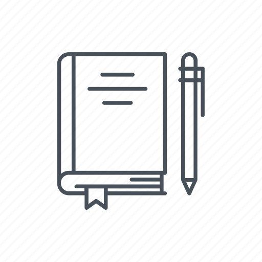 agenda, notebook, pencil, school material, writing, writing tool icon