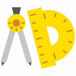 compass, design, direction, measure, navigation, ruler, tool icon