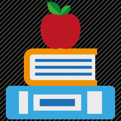 apple, book, education, intelligent, knowledge, school, study icon