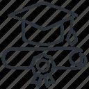certificate, degree, diploma, graduation icon