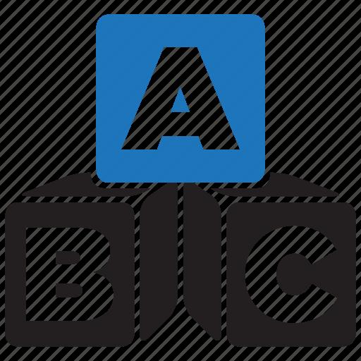 abc, academic, alphabet, block, cube, cubes, education icon