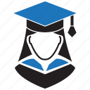 avatar, graduation, student icon
