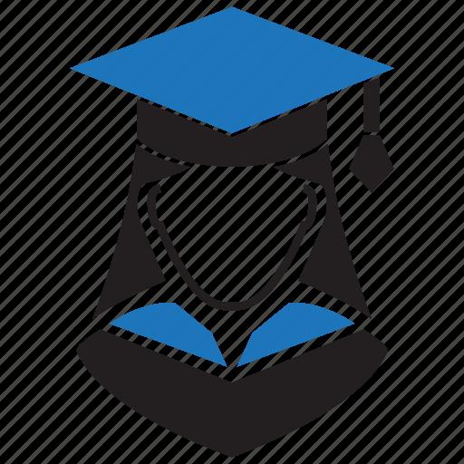 education, female, girl, graduation, school, study, user icon