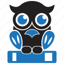 book, education, knowledge, learning, owl, school, study icon