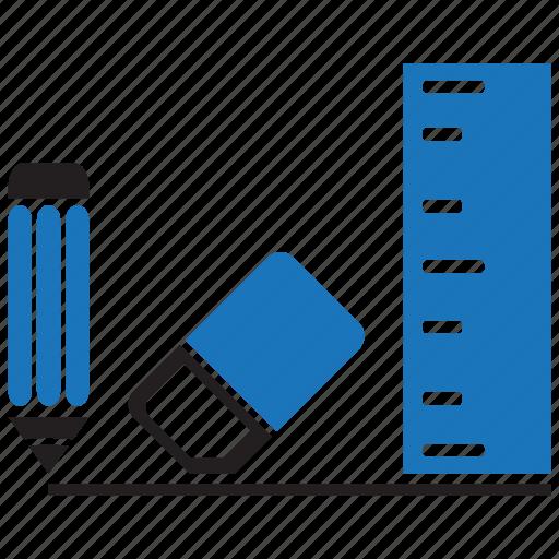 Eraser, pencil, ruler, stationery icon - Download on Iconfinder