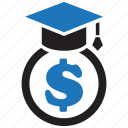 dollar, education, finance, graduation, money, scholarship icon