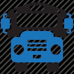 bus, college, education, school, schoolbus, transport, university icon