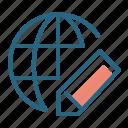 earth, globe, pencil, planet icon