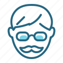 glasses, man, moustache, teacher icon