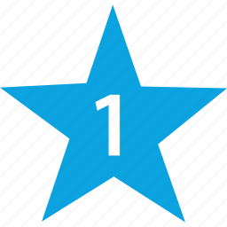 number, one, special, star icon