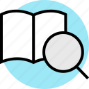 book, open, search, teaching icon