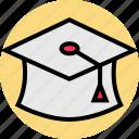 cap, graduation, online icon