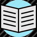 book, open, teaching icon