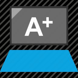 good grade, laptop, tech, tecnology icon