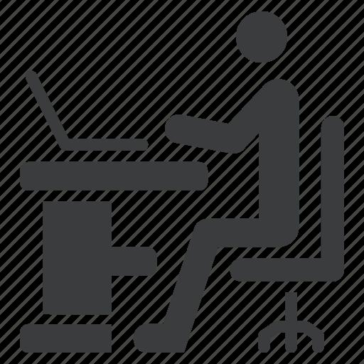 desk, laptop, office, school, study, work icon