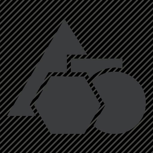 circle, education, geometry, hexagon, school, shapes, triangle icon