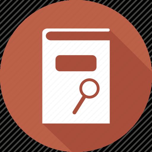 book, books, directory, library, search icon