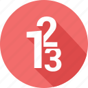 digits 123, education, school, writing icon