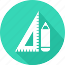 geometry, measure, pencil, ruler, tool icon