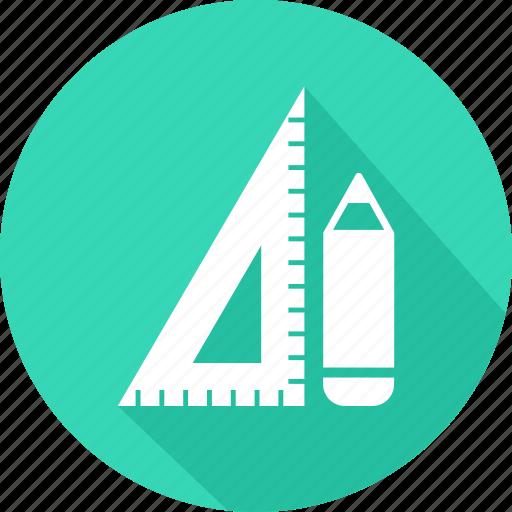 geometry, measure, pencil, ruler, tool icon