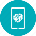 coin, dollar, mobile, phone, smartphone icon