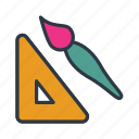 brush, down, draw, education icon, ruler, scale icon icon