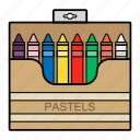 draw, education, pastel, pencils icon