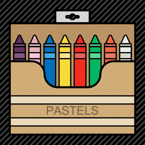 draw, education, pastel, pencils icon