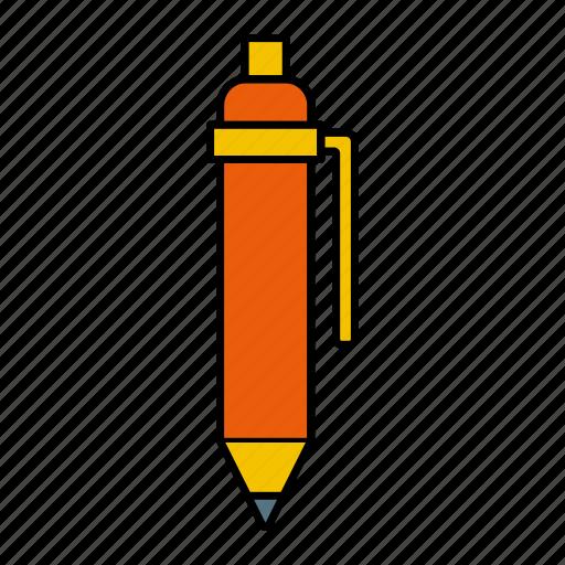 ink, orange, pen, write icon