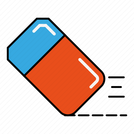 education, eraser, red and blue, tool icon