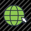 browser, click, cursor, globe, internet icon icon