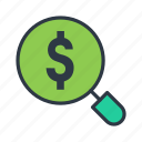 dollar, find, profit, search icon icon