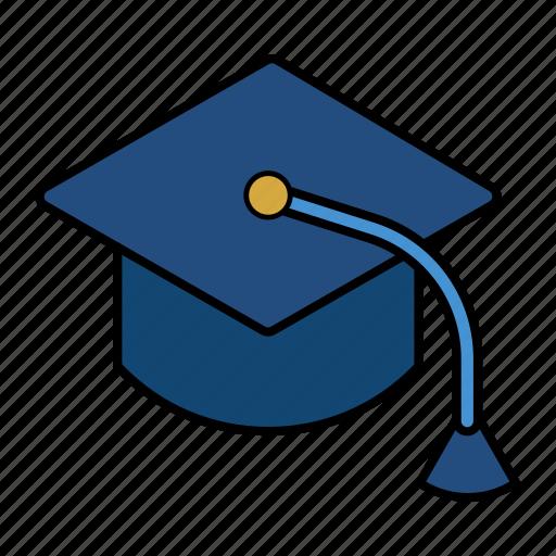 graduated, hat, mortarboard, university icon