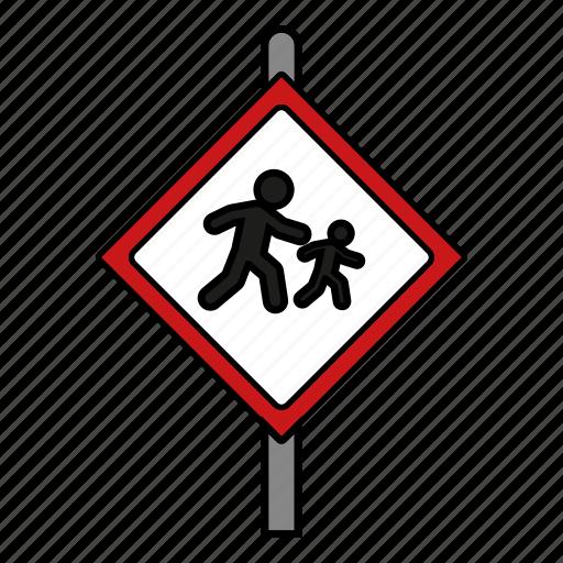 beware, children, road, school sign icon