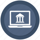 bank, computer, devices, laptop, macbook, online bank icon
