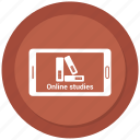 cell phone, mobile, online book, online studies, phone icon