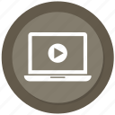 laptop, play, video, youtube icon