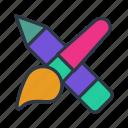 art, color, design, draw, pencil, pencil and brush icon icon