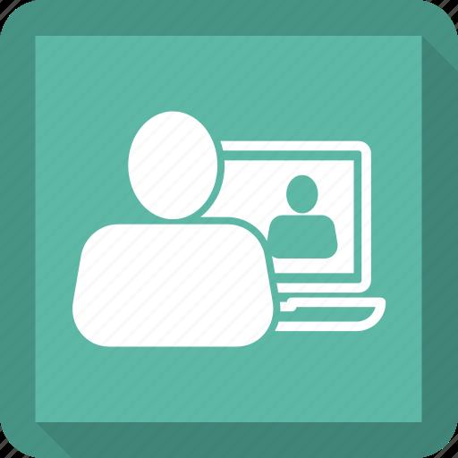 bubble, chat, friend, laptop, man, online icon