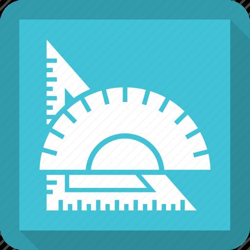 pencil, ruler, scale, triangle icon