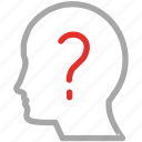 head, human mind, idea, question mark icon