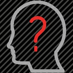head, human mind, idea, question mark icon