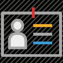 id, id badge, id card, identification card icon