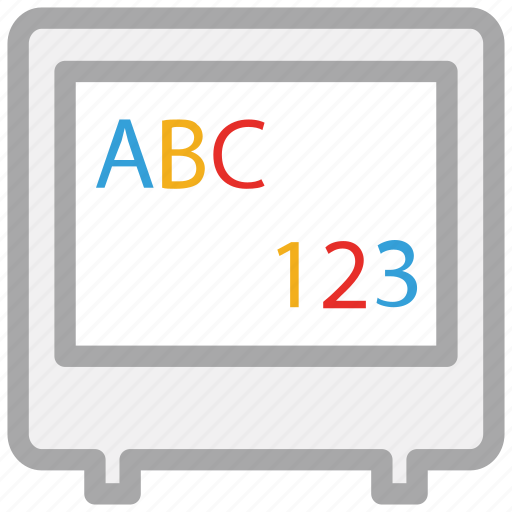 alphabets displaying, displaying digits, monitor, screen icon