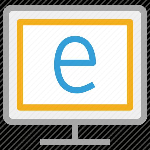 alphabet e displaying, exploring, monitor, screen icon