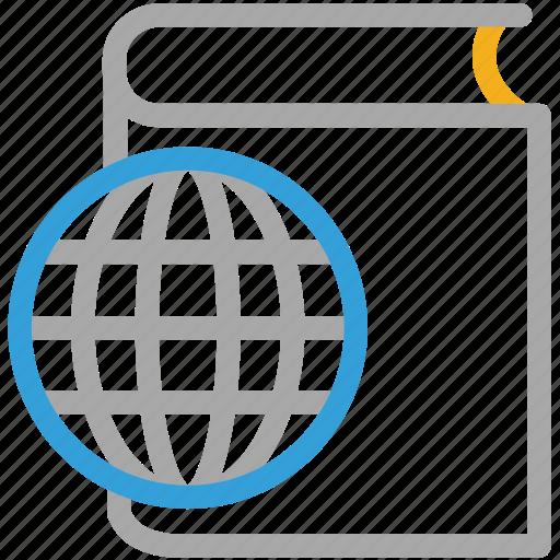 book, e book, globe, online book, online study icon
